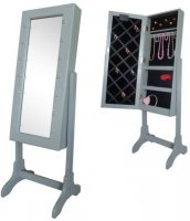 Floor Mirror & Jewelry Storage with LED-lights Grey