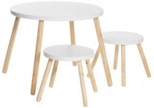 Table & 2 stools White