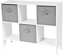 Shelf with 6 compartments incl 3 Grey boxes